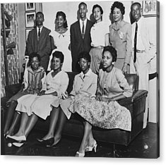 Little Rock Nine And Daisy Bates Posed Acrylic Print by Everett