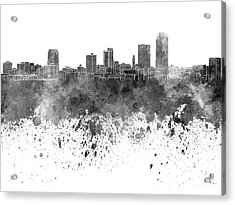 Little Rock Skyline In Black Watercolor On White Background Acrylic Print