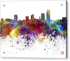 Little Rock Skyline In Watercolor On White Background Acrylic Print