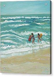 Little Surfers Acrylic Print