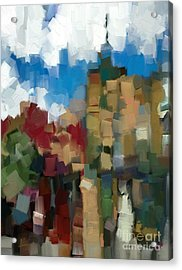 Little Town Abstract Acrylic Print by Carrie Joy Byrnes