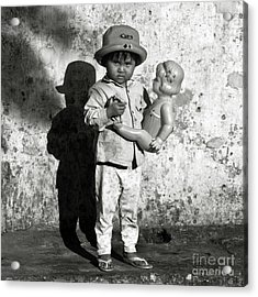 Acrylic Print featuring the photograph Little Vietnamese Girl Playing With Her Doll by Silva Wischeropp