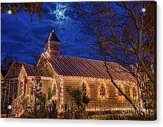 Little Village Church With Star From Heaven Above The Steeple Acrylic Print by Bonnie Barry