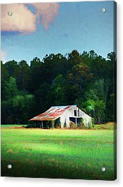Little White Barn Acrylic Print by Marvin Spates