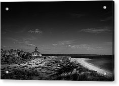 Little White Lighthouse Bw Acrylic Print by Marvin Spates