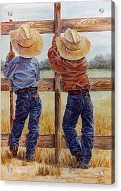 Little Wranglers Acrylic Print by Ann Peck