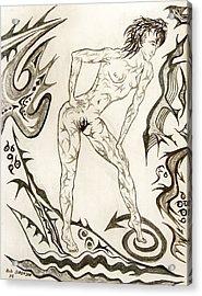 Live Nude 3 Female Acrylic Print by Robert SORENSEN