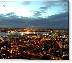 Liverpool City And River Mersey Acrylic Print by Steve Kearns