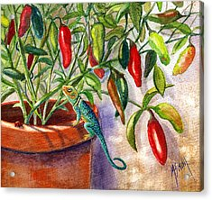Acrylic Print featuring the painting Lizard In Hot Sauce by Marilyn Smith