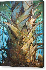 Acrylic Print featuring the painting Lizards And Boots by AnnaJo Vahle