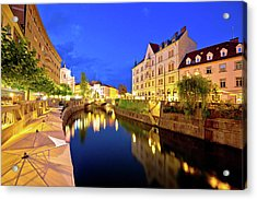 Ljubljanica River Waterfront In Ljubljana Evening View Acrylic Print