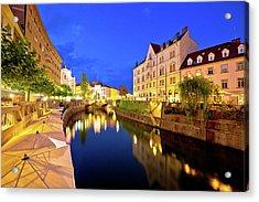 Ljubljanica River Waterfront In Ljubljana Evening View Acrylic Print