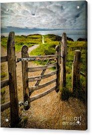 Llanddwyn Island Gate Acrylic Print by Adrian Evans