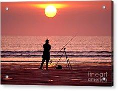 Llangennith Fishing At Sundown Acrylic Print