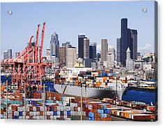 Loaded Container Ship In Seattle Harbor Acrylic Print by Jeremy Woodhouse