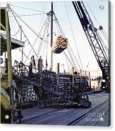 Acrylic Print featuring the photograph Loading Logs At The Port Of Olympia 1966 by Ron Allen