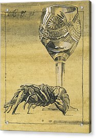 Lobster And  Wineglass. Paradox Still Life Acrylic Print