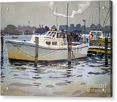 Lobster Boats In Shark River Acrylic Print by Donald Maier