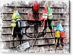 Lobster Buoys Wc Acrylic Print by Peter J Sucy