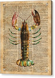 Lobster Crustacean Mediterranean Sealife Vintage Dictionary Art Collage Acrylic Print by Jacob Kuch