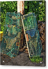 Lobster Pots - Perkins Cove - Maine Acrylic Print by Steven Ralser