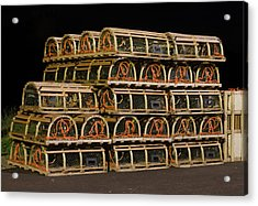 Acrylic Print featuring the photograph Lobster Traps At Night by Rob Huntley