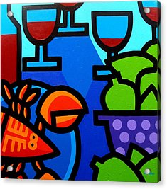 Lobster Wine And Limes Acrylic Print by John  Nolan