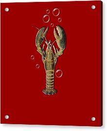 Lobster With Bubbles T Shirt Design Acrylic Print by Bellesouth Studio