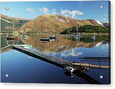 Acrylic Print featuring the photograph Loch Leven  Jetty And Boats by Grant Glendinning