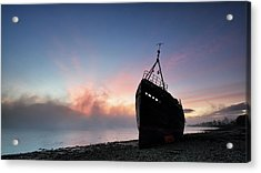 Acrylic Print featuring the photograph Loch Linnhe Misty Shipwreck by Grant Glendinning
