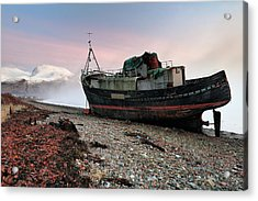 Acrylic Print featuring the photograph Loch Linnhe Misty Boat Sunset by Grant Glendinning