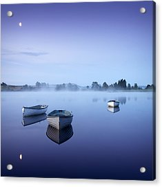 Loch Rusky Moonlit Morning Acrylic Print by David Mould