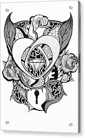Locked Heart Surrounded By Roses Drawing Acrylic Print by Kenal Louis