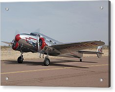 Lockheed 12a Electra Junior Nc18906casa Grande Airport Arizona March 5 2011 Acrylic Print by Brian Lockett