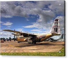 Lockheed C130h Of The Royal Jordanian Airforce. Acrylic Print by Mike Lester