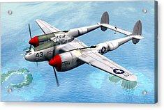 Acrylic Print featuring the digital art Lockheed P-38 Lightning by Walter Colvin