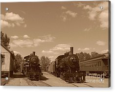 Locomotives In Sepia Acrylic Print by Charles Robinson