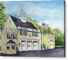 Acrylic Print featuring the painting Locust Valley Firehouse by Susan Herbst