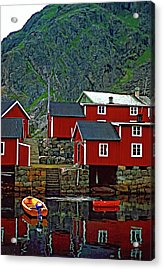 Lofoten Fishing Huts Oil Acrylic Print by Steve Harrington