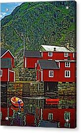 Lofoten Fishing Huts Acrylic Print by Steve Harrington