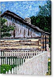 Log Cabin At Conner Prairie Acrylic Print by Stan Hamilton