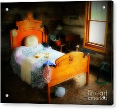 Log Cabin Bedroom Acrylic Print by Perry Webster