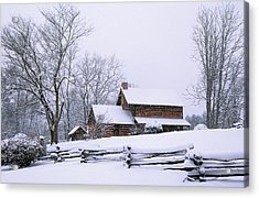 Log Cabin In Snow Acrylic Print by Alan Lenk