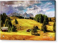 Log Cabin Landscape By Sarah Kirk Acrylic Print