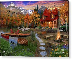 Log Cabin Acrylic Print by David Maclean