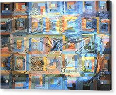 Acrylic Print featuring the painting Log Cabin Quilt by Dawn Senior-Trask