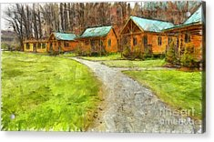 Log Cabins Pencil Acrylic Print