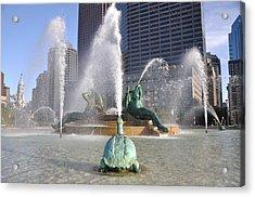 Logan Circle Fountain Acrylic Print by Bill Cannon