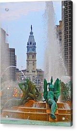 Logan Circle Fountain With City Hall In Backround 3 Acrylic Print by Bill Cannon