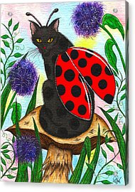 Acrylic Print featuring the painting Logan Ladybug Fairy Cat by Carrie Hawks